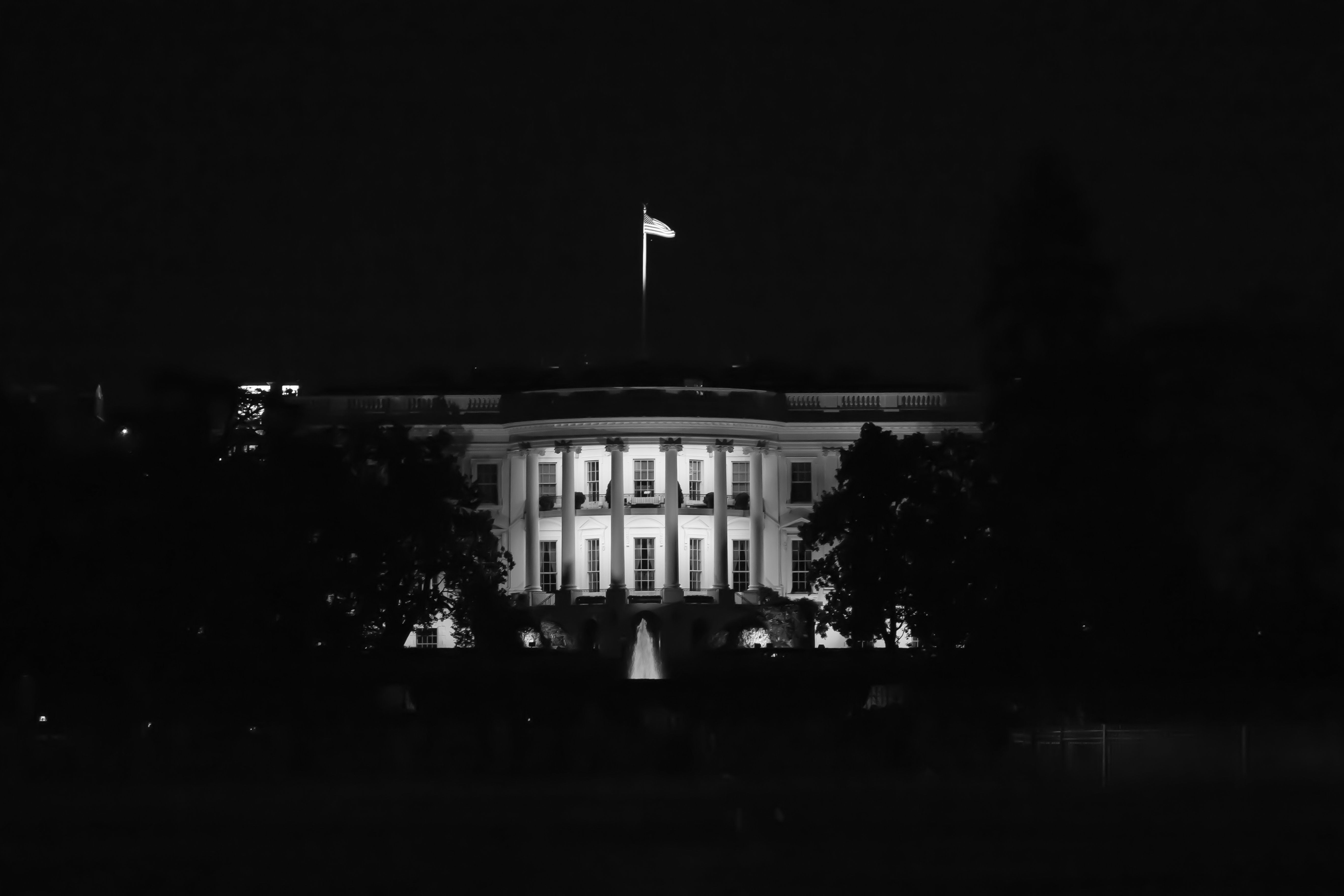 US White House, home of the United States President, at night.