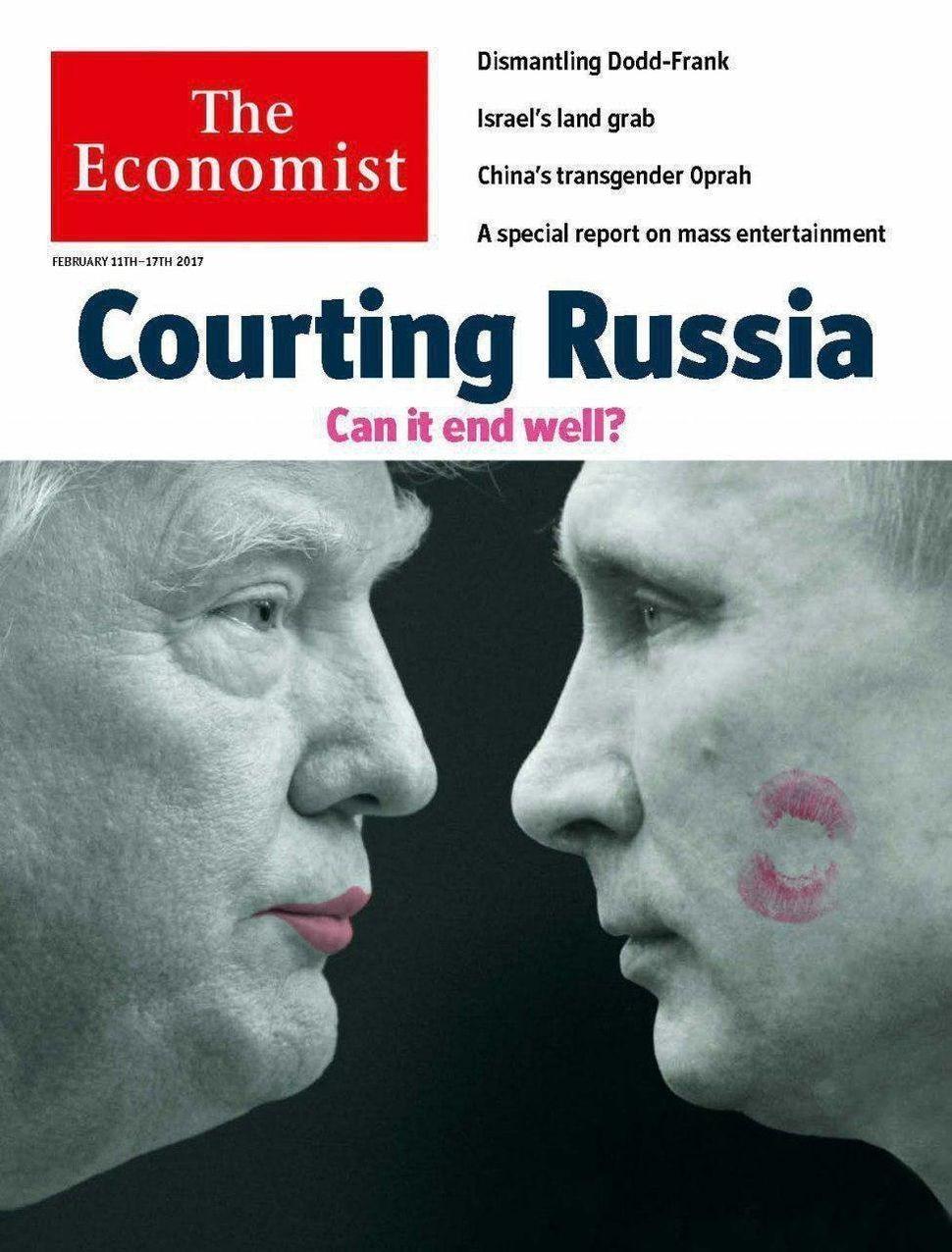 립스틱을 바른 도널드 트럼프가 블라디미르 푸틴을 바라보며 입을 오므리고 있는 이미지가 담긴 이코노미스트