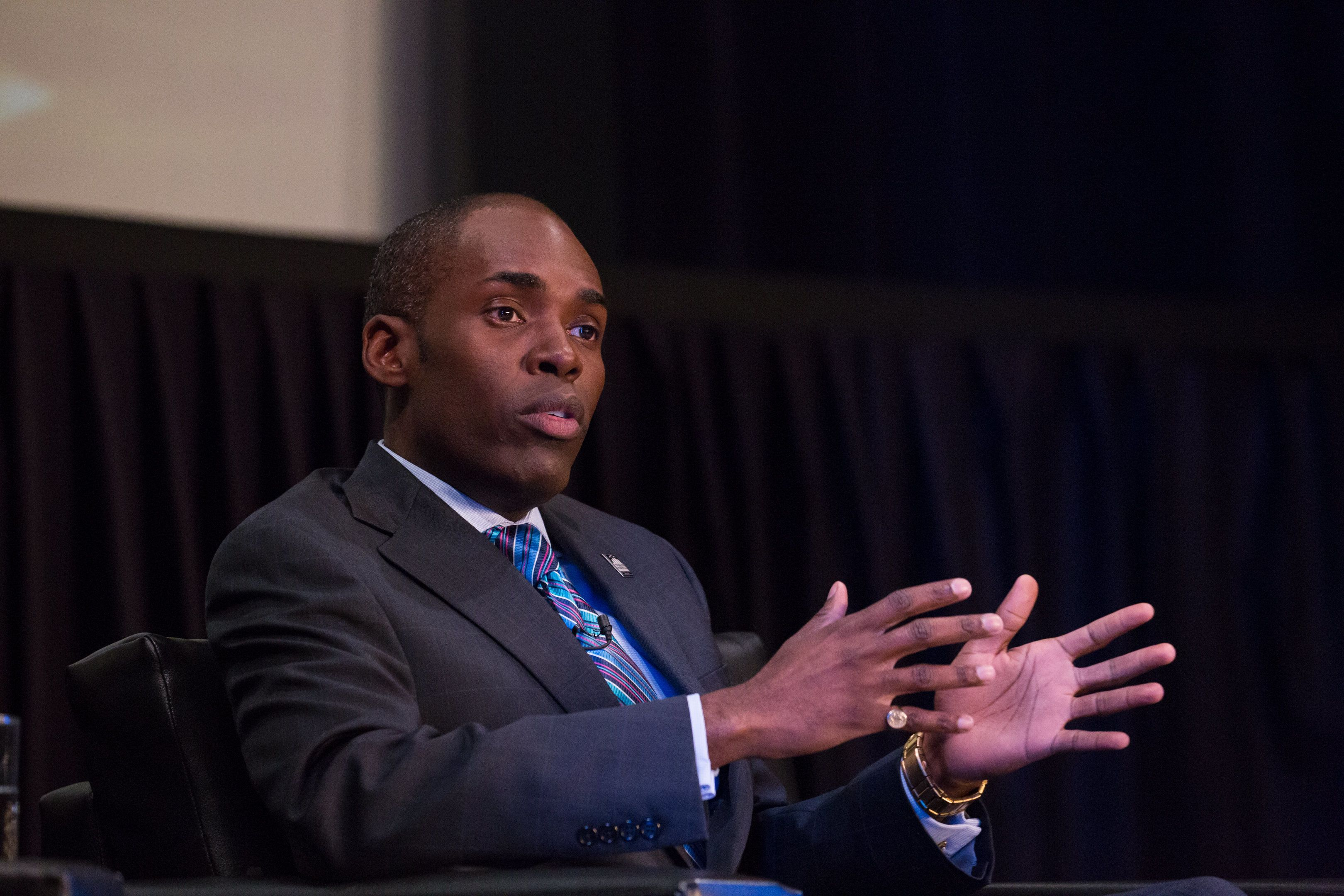 Paris Dennard, GOP commentator, sits on a panel for The State of Black America town hall taping, at the Howard Theatre on May 3, 2017 in Washington, DC.  (Photo by Cheriss May/NurPhoto via Getty Images)