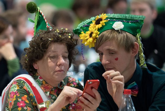 Delegatesdressed as carnival revelers at the Green Party congress in Leipzig, Germany, Nov. 11....