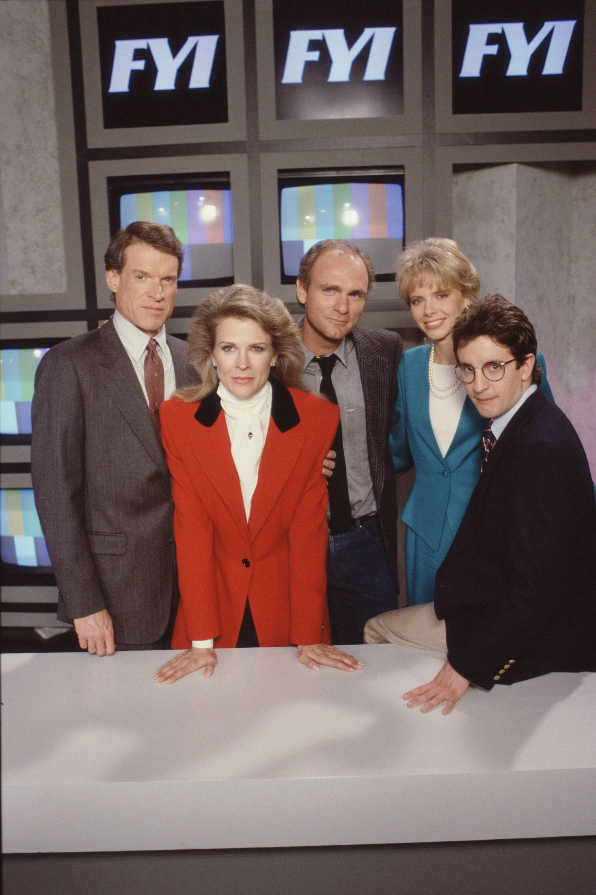 LOS ANGELES - NOVEMBER 14: MURPHY BROWN. (from left) Charles Kimbrough as Jim Dial, Candice Bergen as Murphy Brown, Joe Regalbuto as Frank Fontana, Faith Ford as Corky Sherwood and Grant Shaud as Miles Silverberg in pilot episode, 'Respect'. Air date November 14, 1988. (Photo by CBS via Getty Images)