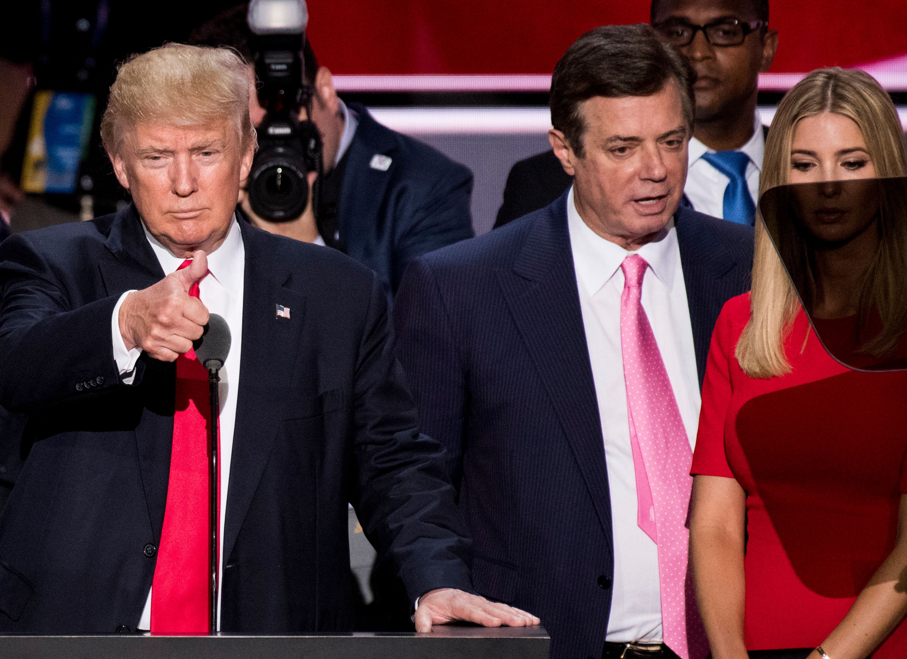 UNITED STATES - NOVEMBER 27: GOP nominee Donald Trump, flanked from left by campaign manager Paul Manafort, and daughter Ivanka Trump, checks the podium early Thursday afternoon in preparation for accepting the GOP nomination to be President at the 2016 Republican National Convention in Cleveland, Ohio on Thursday July 21, 2016. (File Photo By Bill Clark/CQ Roll Call)