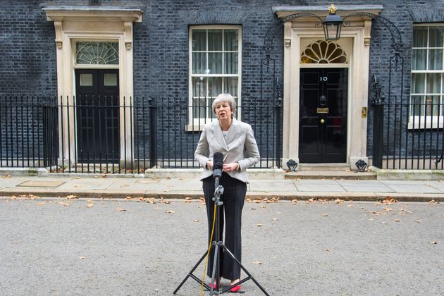 Theresa May outside 10 Downing Street in
