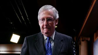 Senate Majority Leader Mitch McConnell of Ky., walks from the podium after speaking to members of the media at the Capitol in Washington, Wednesday, Nov. 7, 2018. (AP Photo/Pablo Martinez Monsivais)