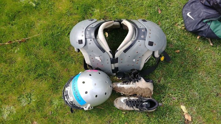 After a long practice, nothing feels better than taking off the helmet, pads and muddy cleats.