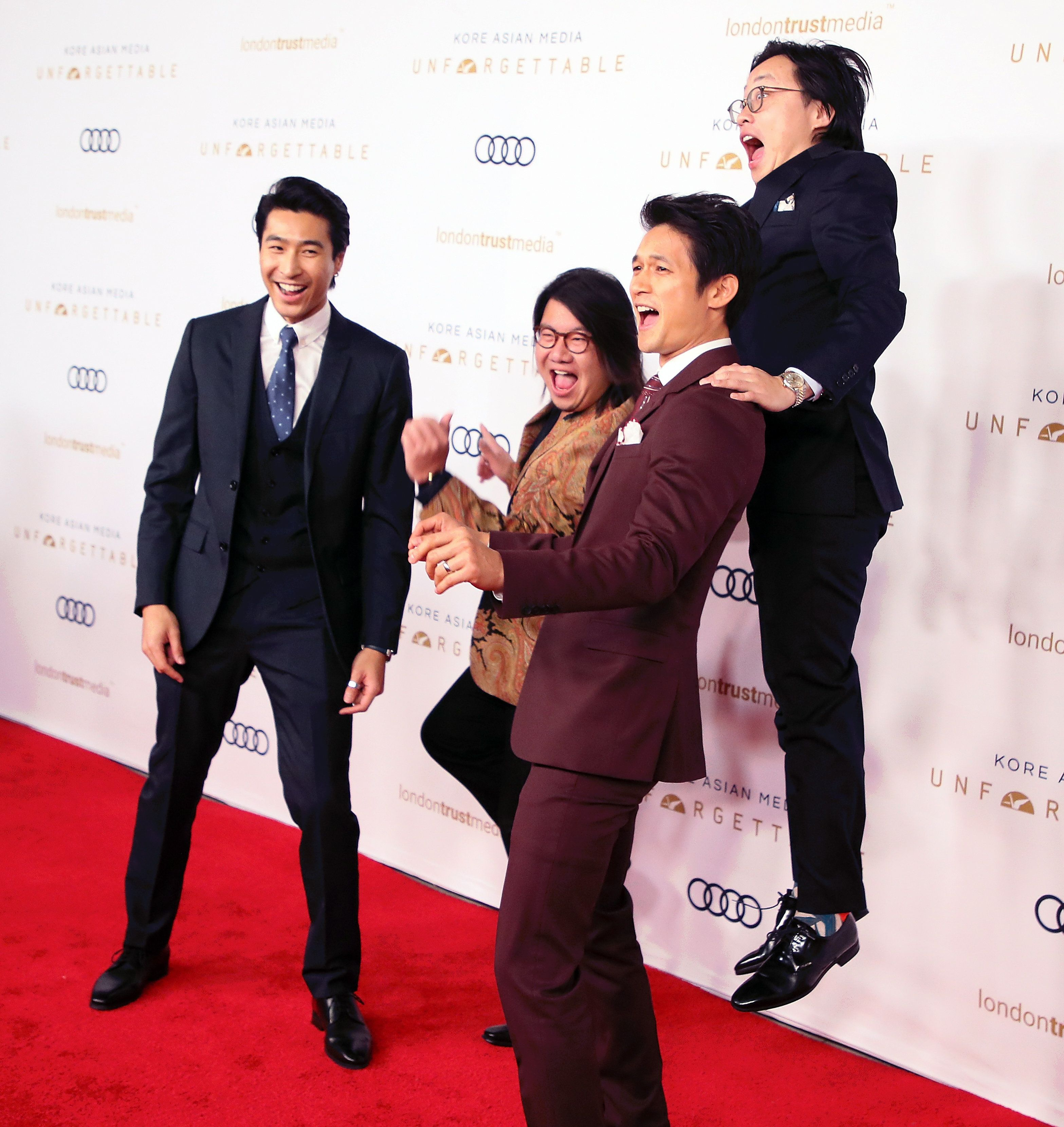 BEVERLY HILLS, CALIFORNIA - DECEMBER 08: (L-R) Chris Pang, Kevin Kwan, Harry Shum Jr. and Jimmy O. Yang attend the Unforgettable Gala 2018 at The Beverly Hilton Hotel on December 08, 2018 in Beverly Hills, California. (Photo by David Livingston/Getty Images)