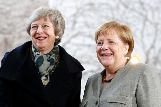 Theresa May and Angela Merkel in Berlin on