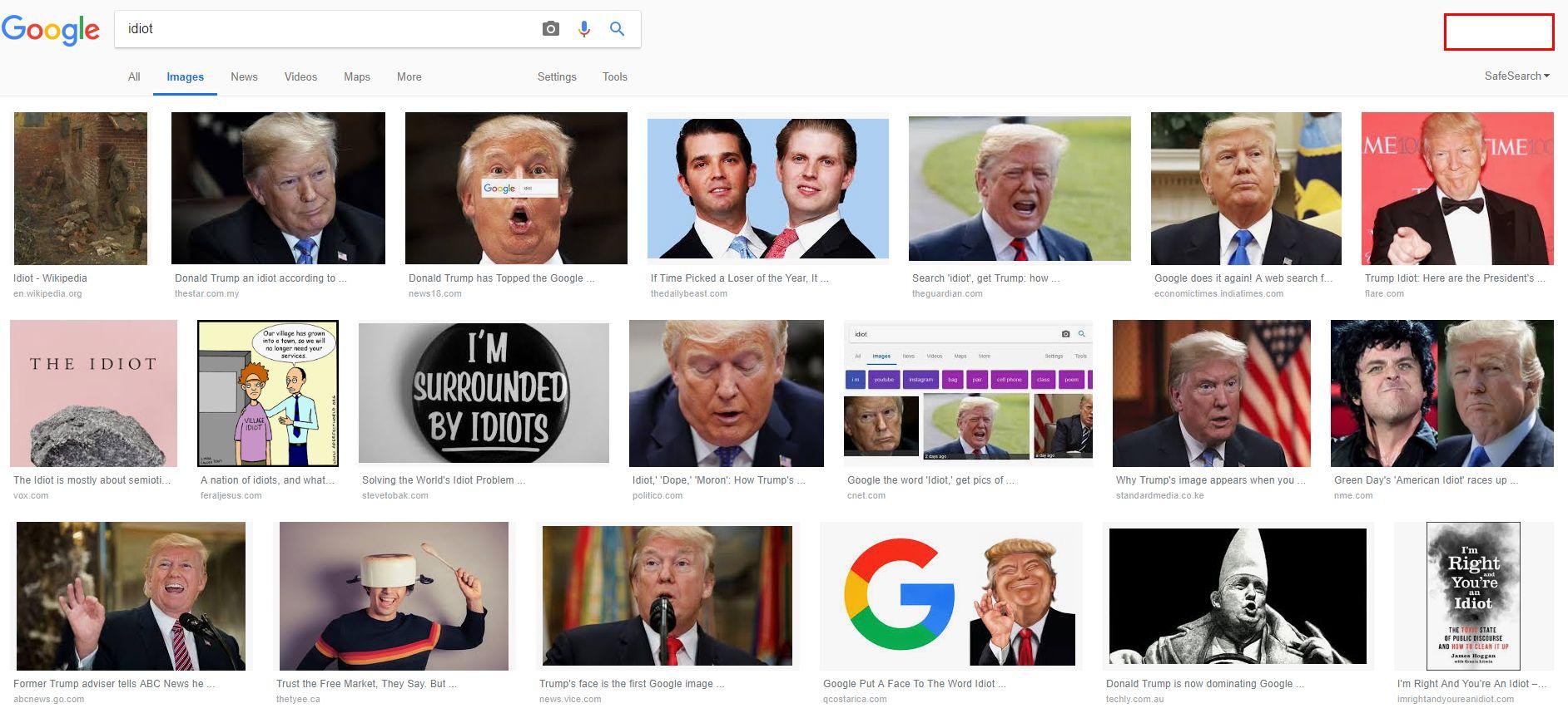 미 의원이 구글 사장에게 '바보'를 검색하면 왜 트럼프가 나오는지