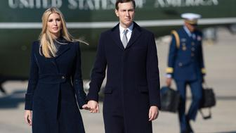 Ivanka Trump and Jared Kushner, White House Senior Advisers, walk to Air Force One prior to departure with US President Donald Trump and First Lady Melania Trump from Joint Base Andrews in Maryland, October 30, 2018, as they travel to Pittsburgh, Pennsylvania, following the shooting at the Tree of Life Synagogue. (Photo by SAUL LOEB / AFP)        (Photo credit should read SAUL LOEB/AFP/Getty Images)