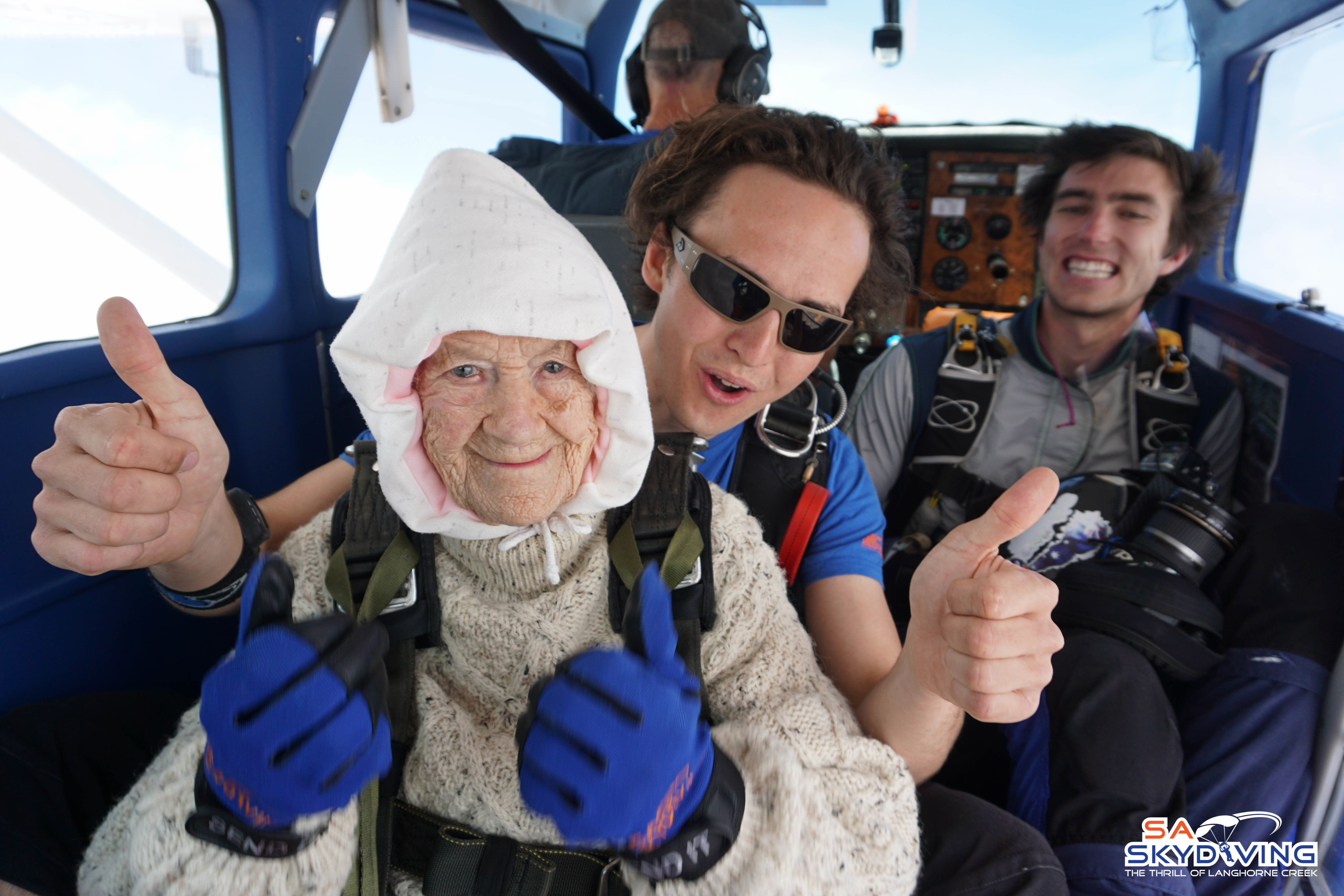 Irene O'Shea became the world's oldest skydiver after jumping from a plane in South Australia.