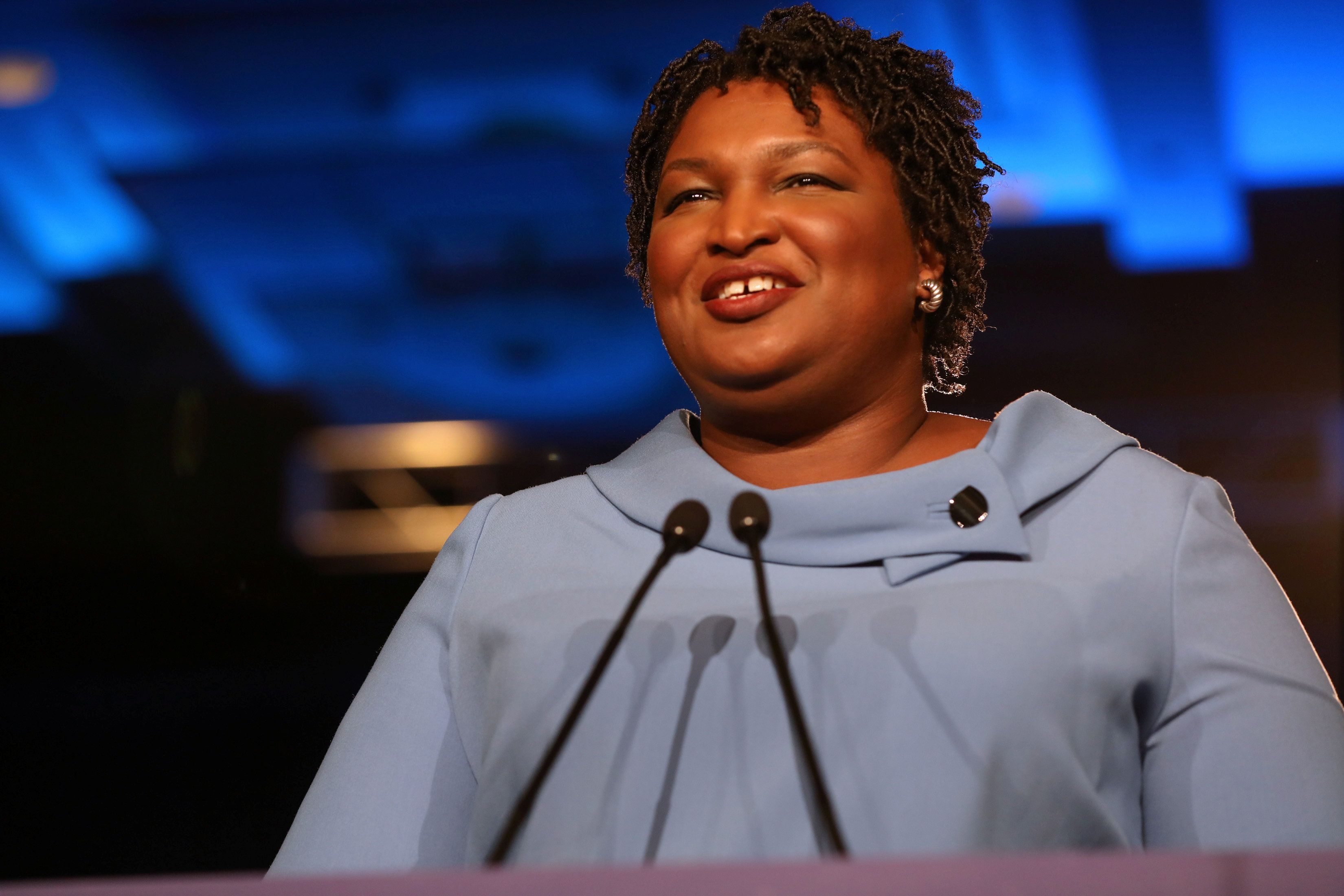 Stacey Abrams speaks to the crowd of supporters announcing they will wait till the morning for results of the mid-terms election at the Hyatt Regency in Atlanta, Georgia, U.S. November 7, 2018. REUTERS/Lawrence Bryant
