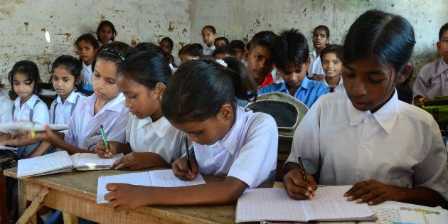 School children in a classroom at a government-run school in Allahabad. (Photo by Prabhat Kumar Verma/Pacific...