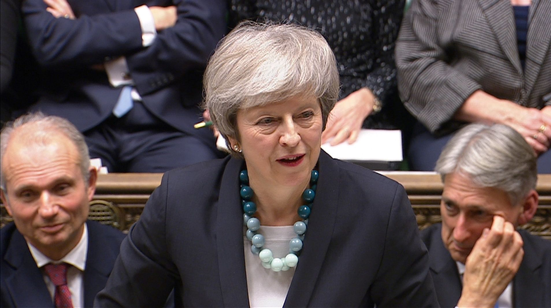 Britain's Prime Minister Theresa May makes a statement in the House of Commons, London, Britain, December 10, 2018. Parliament TV handout via REUTERS  FOR EDITORIAL USE ONLY. NOT FOR SALE FOR MARKETING OR ADVERTISING CAMPAIGNS
