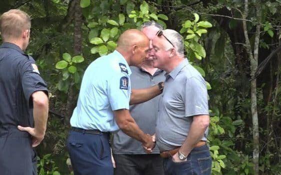 David Millane (right) receives a Maori greeting in