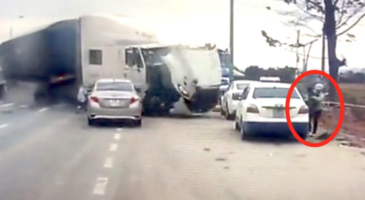 Woman escapes truck