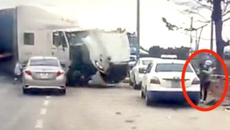 Woman escapes truck