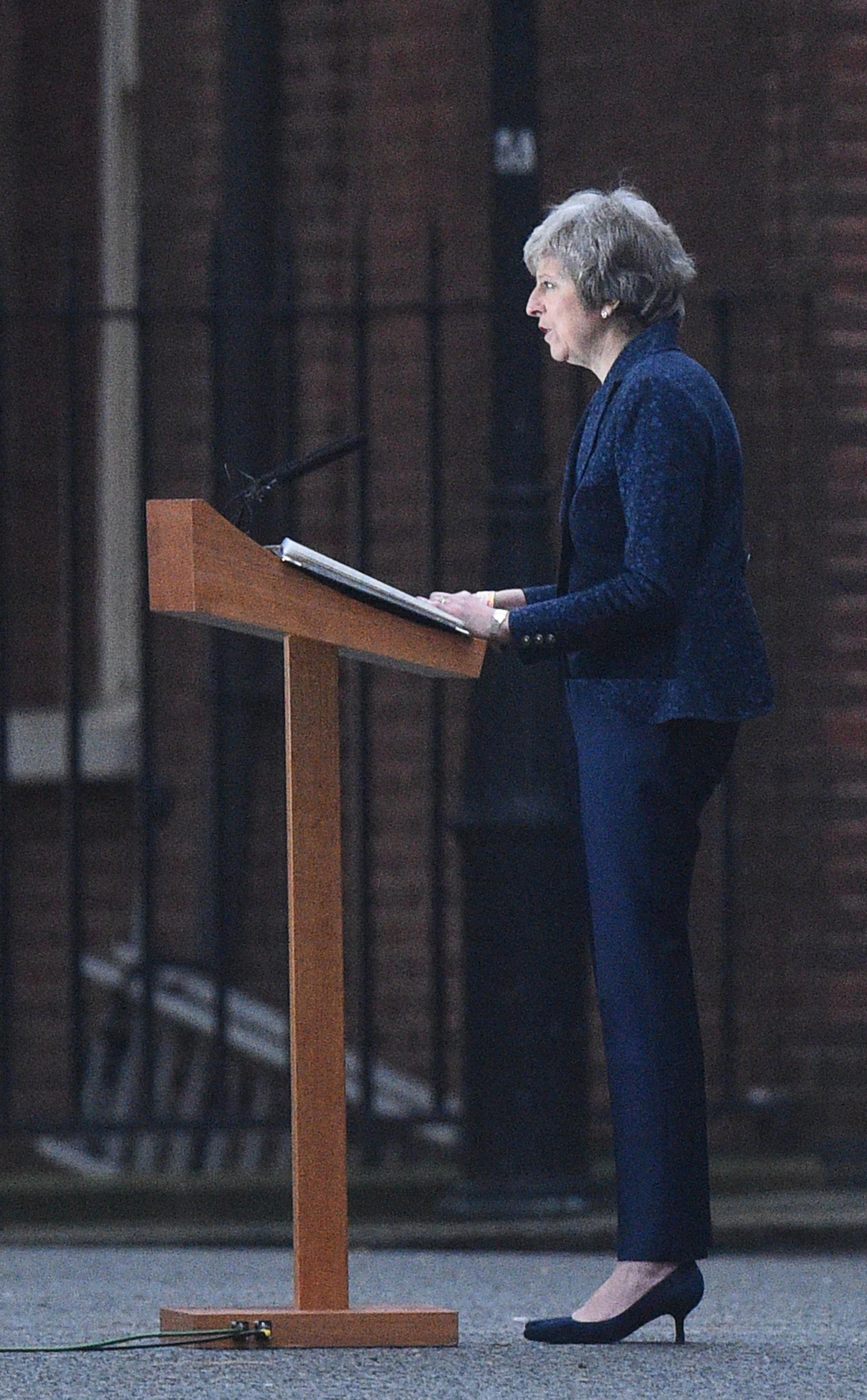 Großbritanniens Premierministerin Theresa May während ihrer Rede am Mittwochmorgen.