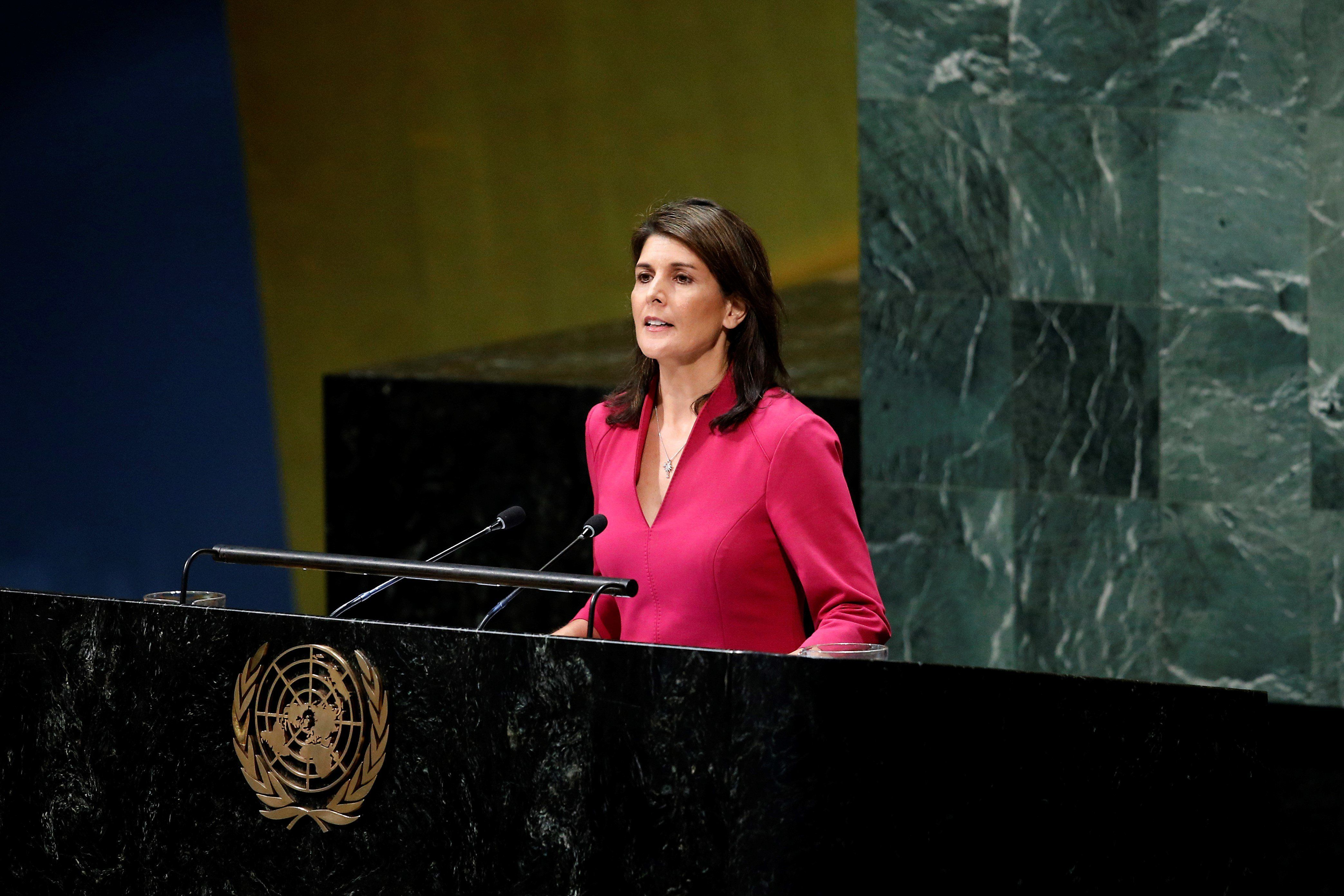 NEW YORK, USA - NOVEMBER 01: U.S. Ambassador to the United Nations Nikki Haley makes a speech during the United Nations General Assembly 30th plenary meeting on necessity of ending the economic, commercial and financial embargo imposed by the United States of America against Cuba at the United Nations Headquarters in New York, United States on November 01, 2018. (Photo by Atilgan Ozdil/Anadolu Agency/Getty Images)