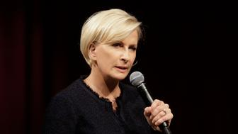 "MSNBC television anchor Mika Brzezinski, co-host of the show ""Morning Joe,"" takes questions from an audience, Wednesday, Oct. 11, 2017, at a forum called Harvard Students Speak Up: A Town Hall on Politics and Public Service, at the John F. Kennedy School of Government, on the campus of Harvard University, in Cambridge, Mass. Co-host Joe Scarborough, not shown, also attend the event. (AP Photo/Steven Senne)"