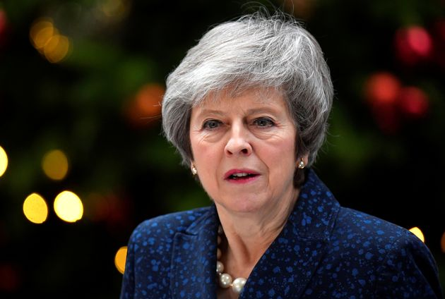 Britain's Prime Minister Theresa May addresses the media after it was announced that the Conservative...