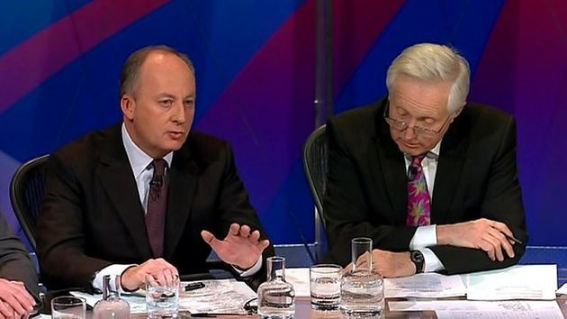 Shaun Woodward, left, was challenged by David Dimbleby over his