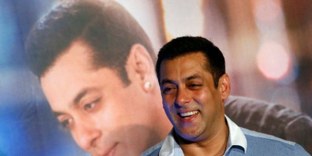 Bollywood actor Salman Khan attends the trailer launch of his upcoming film 'Prem Ratan Dhan Payo' in...