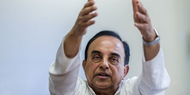 Subramanian Swamy, member of India's parliament for the Bharatiya Janata Party (BJP), speaks during an...