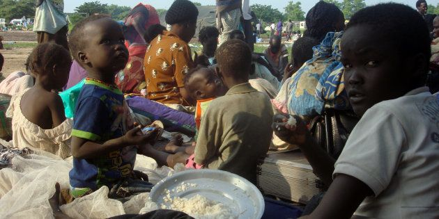 Displaced South Sudanese families are seen in a camp for internally displaced people in the United Nations...