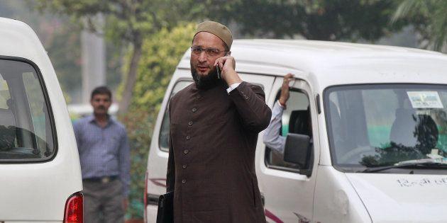 NEW DELHI, INDIA - NOVEMBER 27: President of the All India Majlis-e-Ittehadul Muslimeen Asaduddin Owaisi...