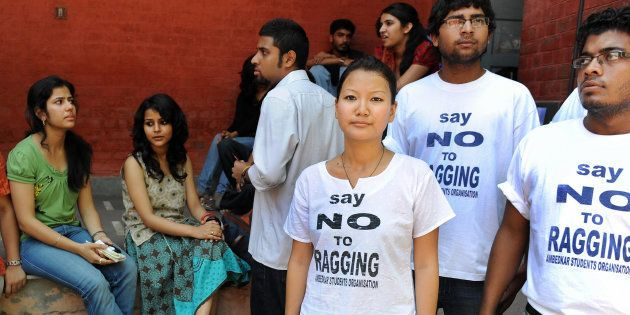 Senior students from various colleges participate in a university campaign against 'ragging' at Kirori...