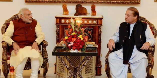 LAHORE, PAKISTAN - DECEMBER 25: Prime Minister of Pakistan Nawaz Sharif (R) meets with Indian Prime Minister...