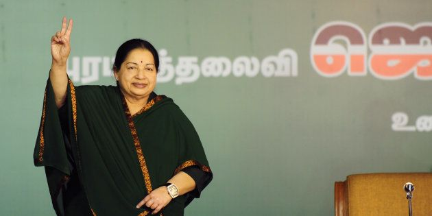 J. Jayalalithaa gestures during a campaign rally in Chennai on April 9,