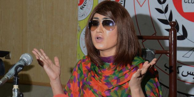 Pakistani renowned actress and model Qandeel Baloch addresses to media persons during press conference...
