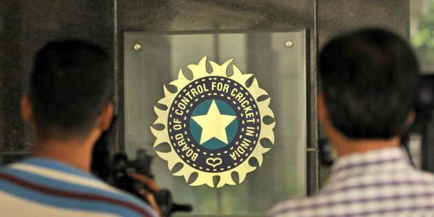 MUMBAI, INDIA JULY 19: A view of logo of the Board of Control for Cricket in India (BCCI) during a Council...