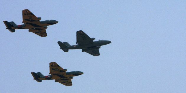 Agra, INDIA: Canberra bombers at the Air Force station in Agra, 11 May 2007. The Electric Canberra jet...