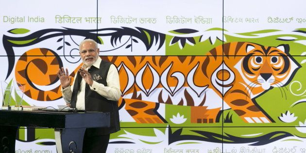 India's Prime Minister Narendra Modi speaks about India's digital initiatives at the Google campus in...