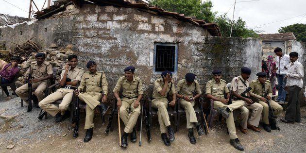 Tight security seen after the Una Dalit row at Mota Samadhiyala