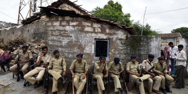 Tight security seen after the Una Dalit row, at Mota Samadhiyala village on July 22,