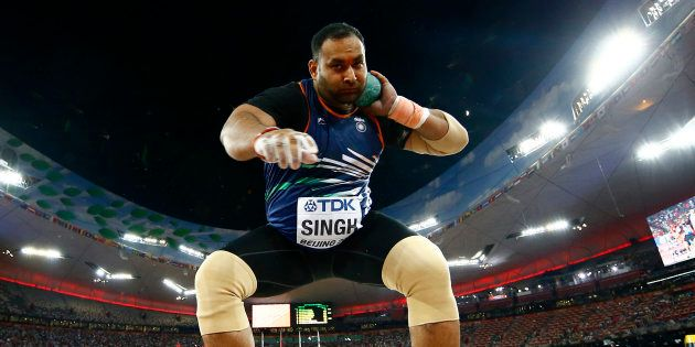 Inderjeet Singh of India competes in the men's shot put final during the 15th IAAF World Championships...