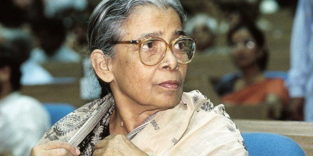 Mahasweta Devi, Writer and Magasaysay Award Winner. (Photo by Dilip Banerjee/The India Today Group/Getty