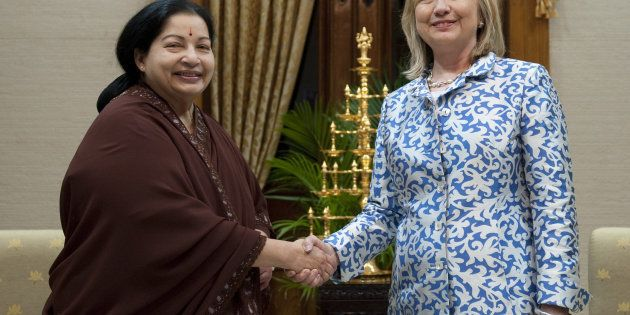 Hillary Clinton, right, shakes hands with J. Jayalalithaa at the Fort St. George Complex in Chennai,...