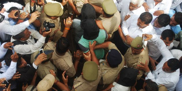 Three persons were arrested by police in highway robbery and gang rape case produced at Bulandshahr court...
