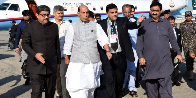 Rajnath Singh, second from left, arrives to attend a meeting of the South Asian Association for Regional...
