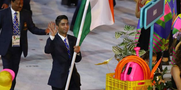 Abhinav Bindra of India carries the flag during the Opening Ceremony of the Rio 2016 Olympic