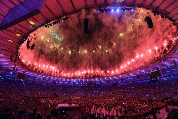 Fireworks and laser show are being performed during the Opening Ceremony of the Rio 2016 Olympic Games...