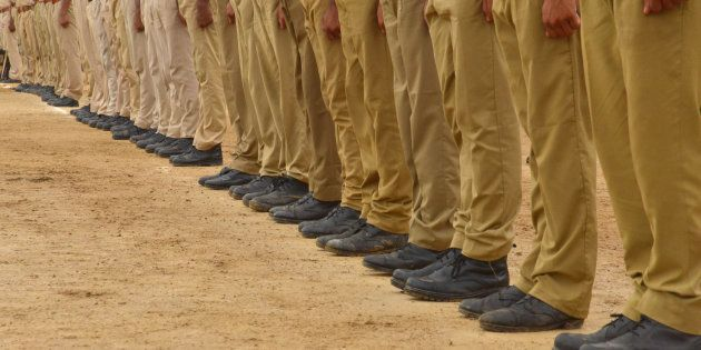 Police officers shoes during parade rehearsal for the Indian Independence Day celebration in Ajmer, Rajasthan,