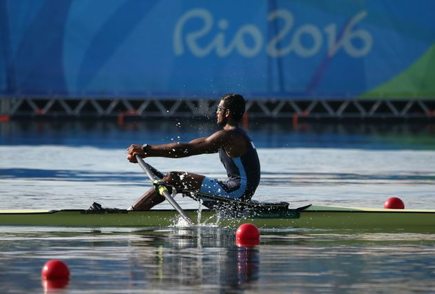 Dattu Baban Bhokanal of India competes in Men's Single Sculls at Rio