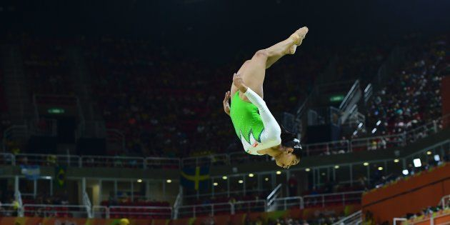 India's Dipa Karmakar competes in the qualifying for the women's Beam event of the Artistic Gymnastics...