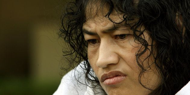 Irom Sharmila Chanu, 34, reacts during an interview with Reuters in New Delhi October 4,
