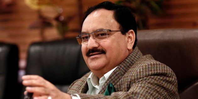 India's Health Minister J.P. Nadda speaks during an interaction with the media at his office in New